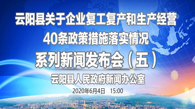 回放:云阳县举行关于企业复工复产和生产经营40条政策措施落实情况系列新闻发布会(五)