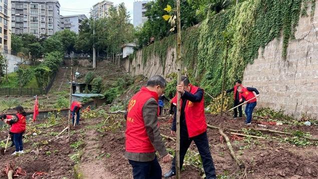 """县林业局联合张家坝社区开展""""我为祖国植10棵树""""活动"""